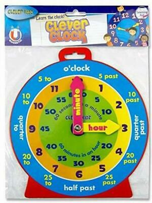 NEW CHILDREN/'S EDUCATIONAL LEARN TO TELL THE TIME CLOCK PINK 25cm PLAY//BEDROOM
