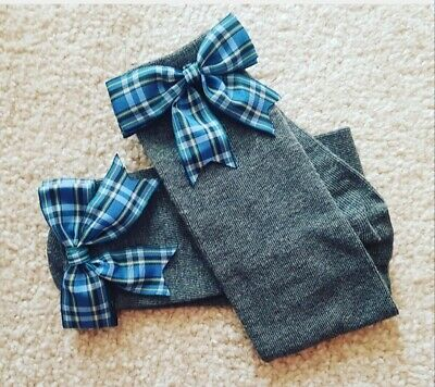 Grey Girls Knee High School Socks Green Blue Tartan Bow Christmas socks any size