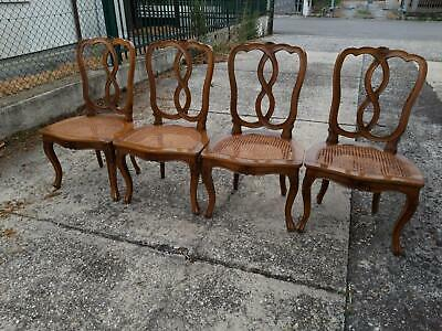 4 Chairs Nut Straw of Vienna Louis XV Decorations Carved Chair