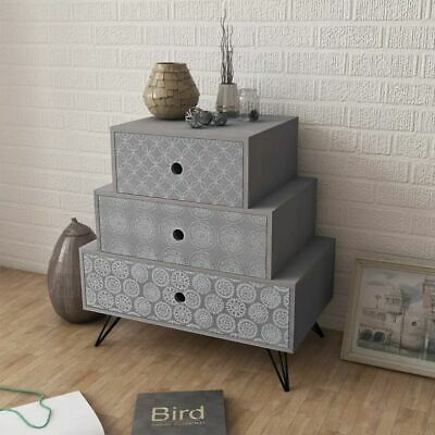 vidaXL Nightstand with 3 Drawers Grey Bedroom Bedside Telephone Table Stand