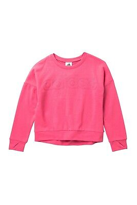 adidas Pink Linear Crew Sweatshirt Big Girls's Small 7/8 New with Tags