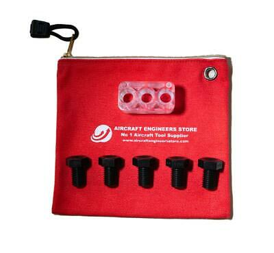 Aircraft Tools 10Pc 3 Hole Drill Block & Numbered Bush Kit In Aes Storage Pouch