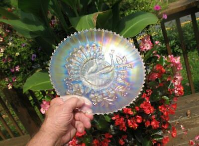 "NORTHWOOD    ""PEACOCKS on the FENCE""    WHITE CARNIVAL GLASS PLATE"