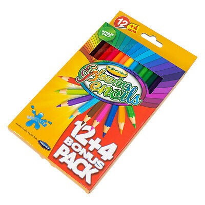 16 Pack Colouring Pencils Assorted Bright Colours For Kids Adults Art Sketching