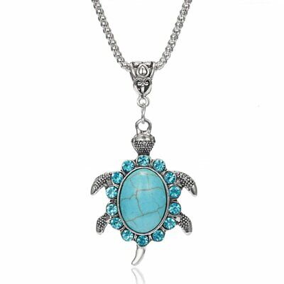 Fashion Crystal Green Turtle Necklace Pendant Charm Women Jewelry Party Gifts