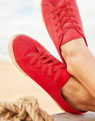 Joules Womens Coast Pump Canvas Lace Up Trainers in RED