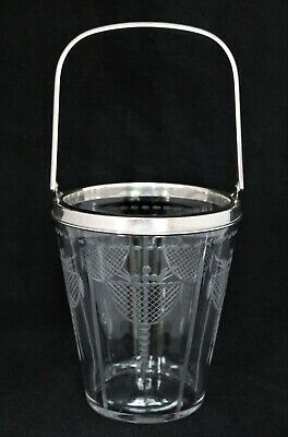 Antique Hawkes Signed Crystal Cut Glass Engraved Ice Bucket