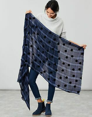 Joules Womens Corin Flocked Scarf in BLUE COLTON CHECK in One Size