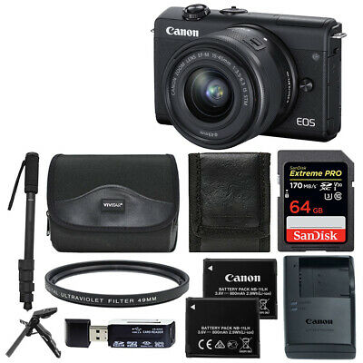 Canon EOS M200 Mirrorless Digital Camera with 15-45mm Lens (Black) Top Value Kit