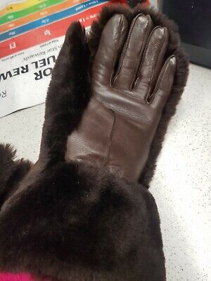 Vintage Pair Of Dents Ladies Gloves Size 6 Leather And Fur