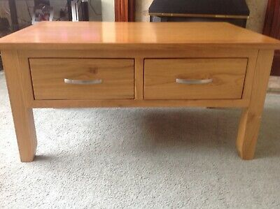 solid light oak coffee table with drawers