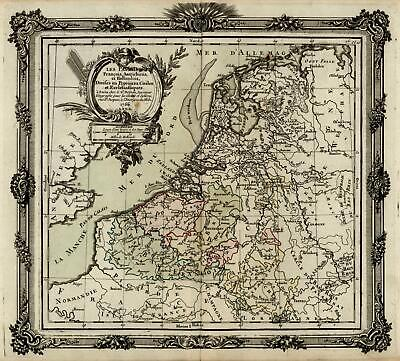 Netherlands Low Countries Holland 1766 Desnos Bion engraved map hand color