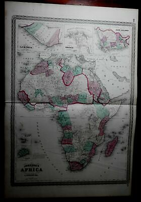African Continent probably supposed features named 1870 Johnson large nice map