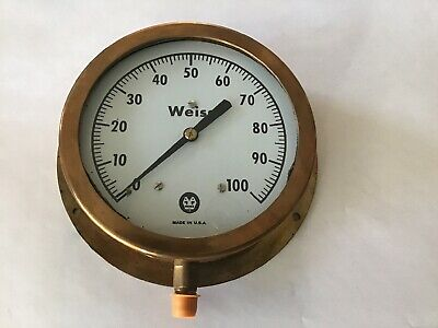 "NOS Vintage Weiss Brass Large Heavy Pressure Gauge with Glass 6 1/2"" Wide USA"