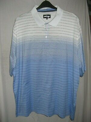 "Marks Spencer Mens Polo Shirt Plus Size 4XL (58"" Chest) Sky Blue White"