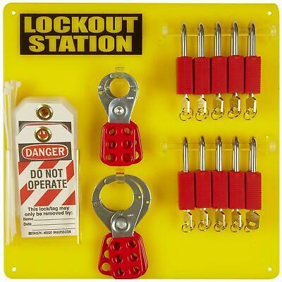 Brady 10 Padlock, 4 Hasp, and 12 Tag Safety Lockout Tag Out Station Board 51187