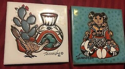 Two Southwest Cleo Teissedre Hand Painted Ceramic Art Tile - Kiln Fired Vintage