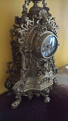 Antique Franz Hermle Gilt Imperial Brass Mantle Louis XV Boulle clock