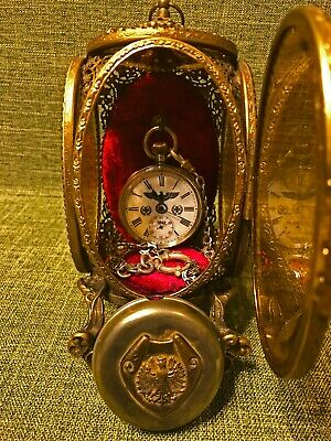 Vintage German WW2 Military Solid Silver 0.800 Mens Pocket watch, Case,Chain.