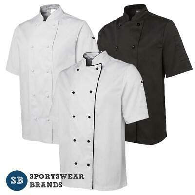 Mens Short Sleeve Chefs Jacket Contrast Piping Restaurants Shirt Kitchen 5CJ2