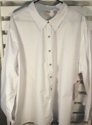 Chic Classic Collection Womens Button Front 3/4 Sleeve Woven Shirt Plus Size 3X