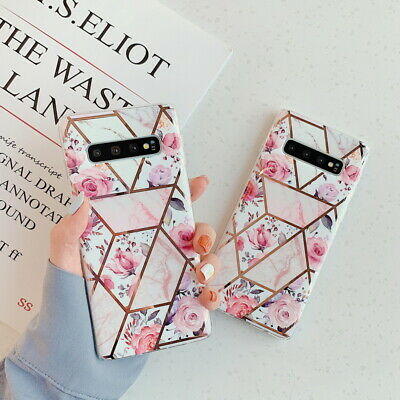 For Samsung Galaxy Note 10 S9 S10 Plus Retro Flower Plating Soft IMD Case Cover