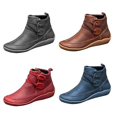 Women Boots ARCH SUPPORT Ankle Boots Suede Stitch Ladies Winter Shoes Flat Heels