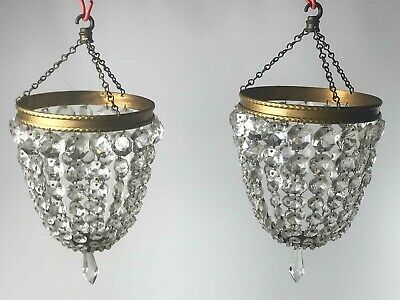 Pair of Vintage Crystal & Gilt Brass Bag Light Ceiling Pendant Chandelier [5620]