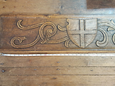 Large Antique Hand Carved Oak Panel 18187