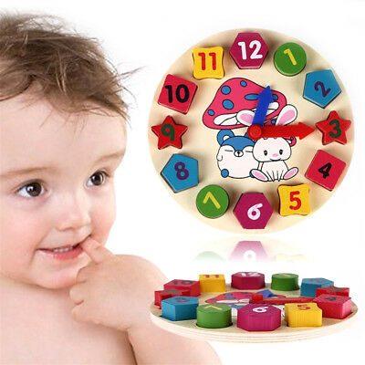 Wooden Colorful Clock Puzzle Toy 12 Number Block Child Baby  Educational Toy w/