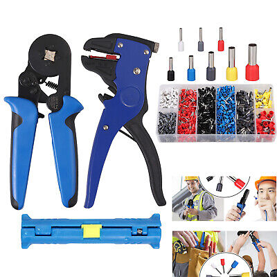 Ratchet Crimper Plier Crimping Tool for Cable Wire + 1200 Electrical Terminals
