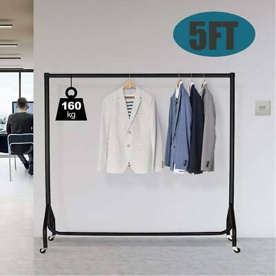 5FT Garment Clothes Rail Metal Heavy Duty Rack Home Shop Hanging Display Stand