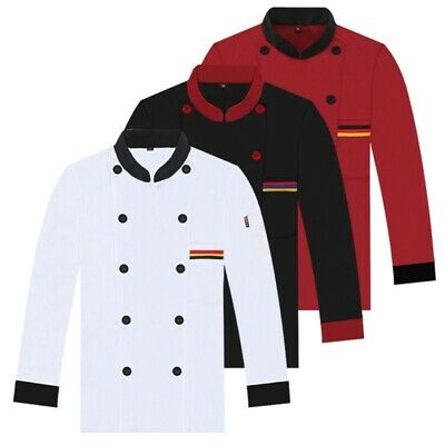 Adults Unisex Chef Coat Breathable Long Sleeve Jacket Restaurant Working Uniform