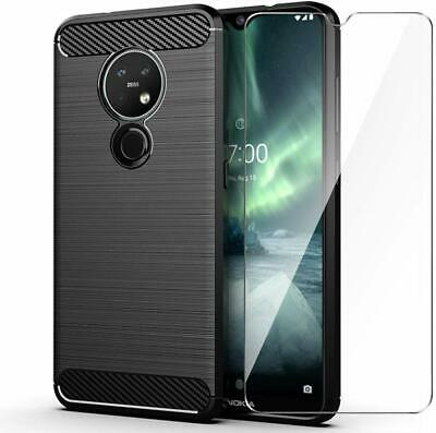 For Nokia 7.2 Case Carbon Fibre Cover & Glass Screen Protector