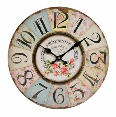 Shabby Chic Vintage Antique Wall Clock Patchwork Rustic Retro Kitchen Home Decor
