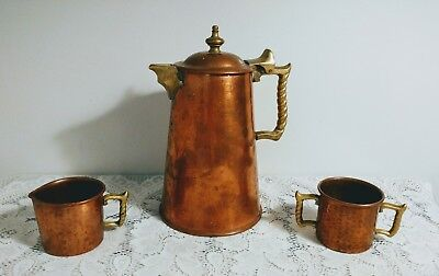 Antique Vtg HAND HAMMERED COPPER & BRASS TEAPOT, CREAMER & SUGAR SET