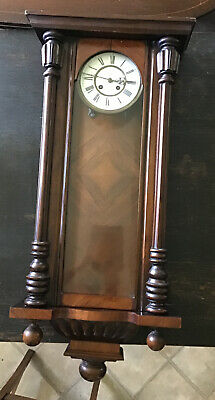 "37"" X 17"" Antique Wooden & Glass Two Hole Wall Clock. Spairs And Repairs"