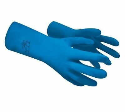 Polyco BLUE Nitri-Teck III Nitrile Chemical Resistant Gauntlet Rubber Gloves L