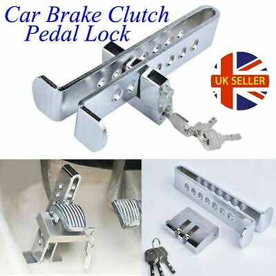 Silver Auto Car Brake Clutch Pedal Lock Stainless Anti-Theft Strong Security UK