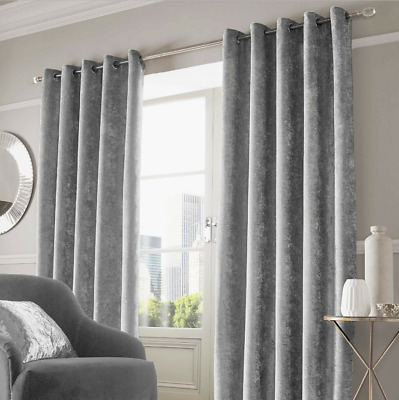 "Sienna Luxurious Silver Grey Faux Crushed Velvet Eyelet Curtains 46"" x 54"""