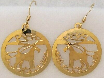Airedale Terrier Jewelry Gold Dangle  Earrings by Touchstone Dog Designs