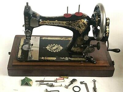 Antique Singer 28K Hand Crank Sewing Machine c1896  [5629]