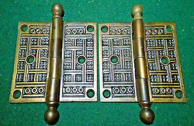Norwalk Eastlake Hinge Set: 3 1/2 X 3 1/2  Circa 1890   Beautiful  (13342)