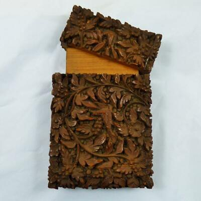 Antique Anglo Indian Indo Persian Carved Sandalwood Card Case