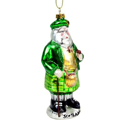 Hanging Green Glass Scotsman Father Christmas Tree Bauble Decoration