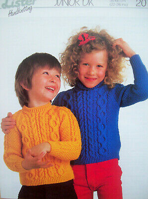 KNITTING PATTERN Girls Round Neck Cable Jumper /& Waistcoat DK King Cole 5039
