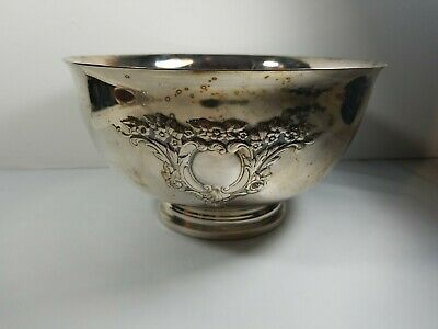 "Very Nice Footed Silver Plate Floral Revere Shaped Bowl Repousse 8"" Round"