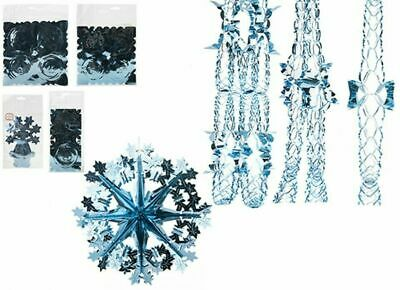 Ice Blue Christmas Foil Decoration Garlands, Bells, Stars, Snowflakes,