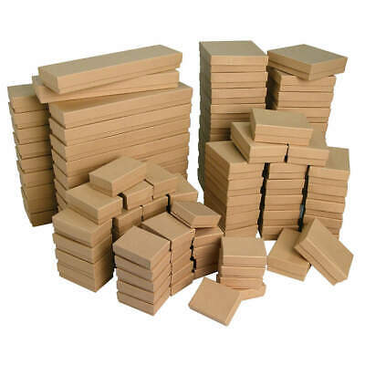 Kraft Cotton Filled Cardboard Jewelry Boxes Sold in 12, 16, 25, 50, 100 pieces