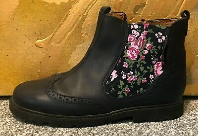 Nearly New Worn Once Start-Rite Girls Navy Leather Floral Chelsea Boots Uk 13 F